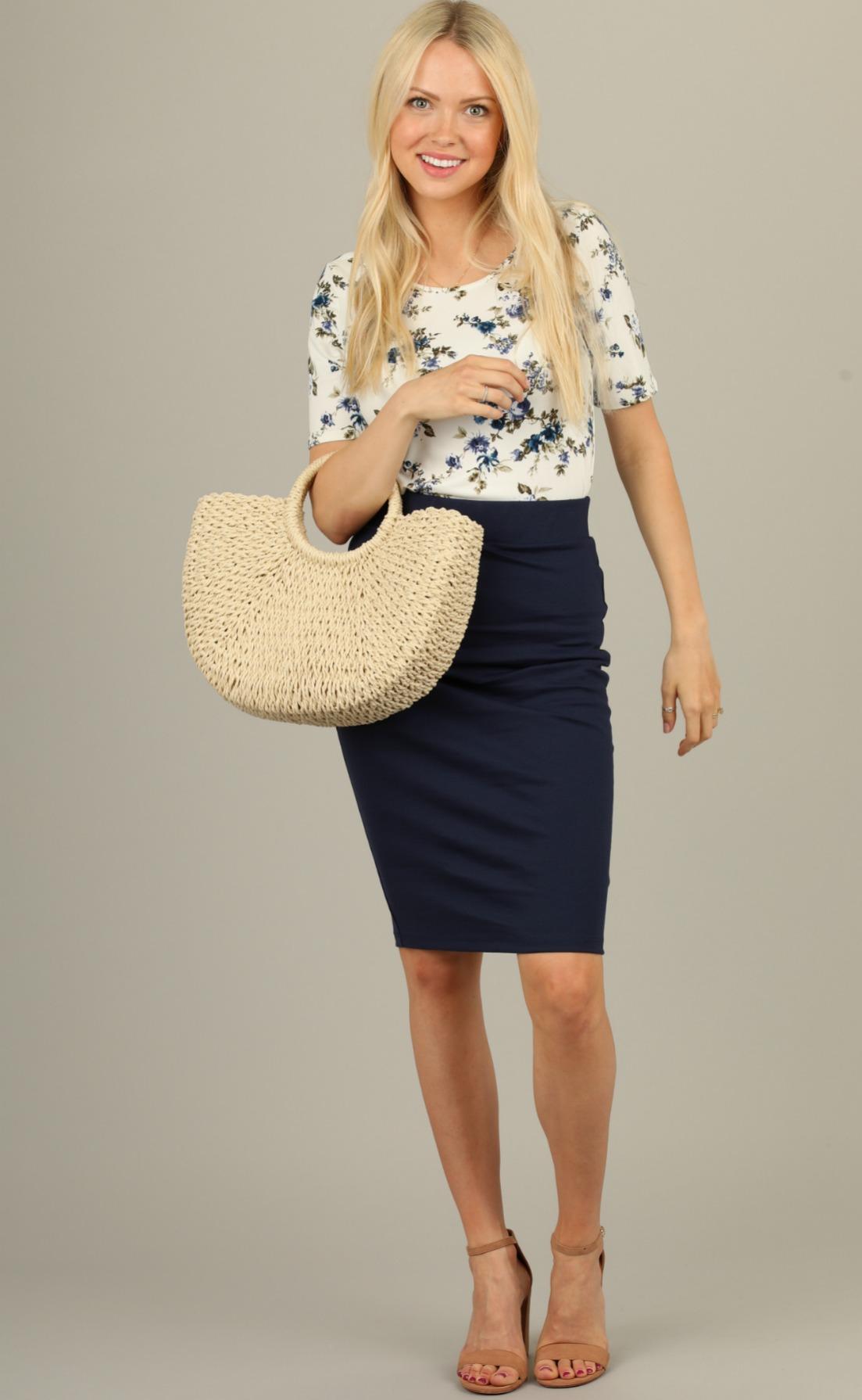 Pencil Skirt-Navy Blue