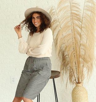 Striped Button Skirt