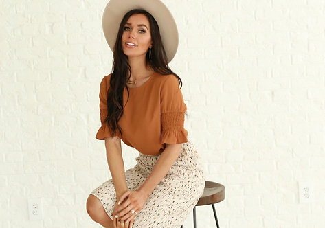 A-line Slip Skirt Vanilla Abstract