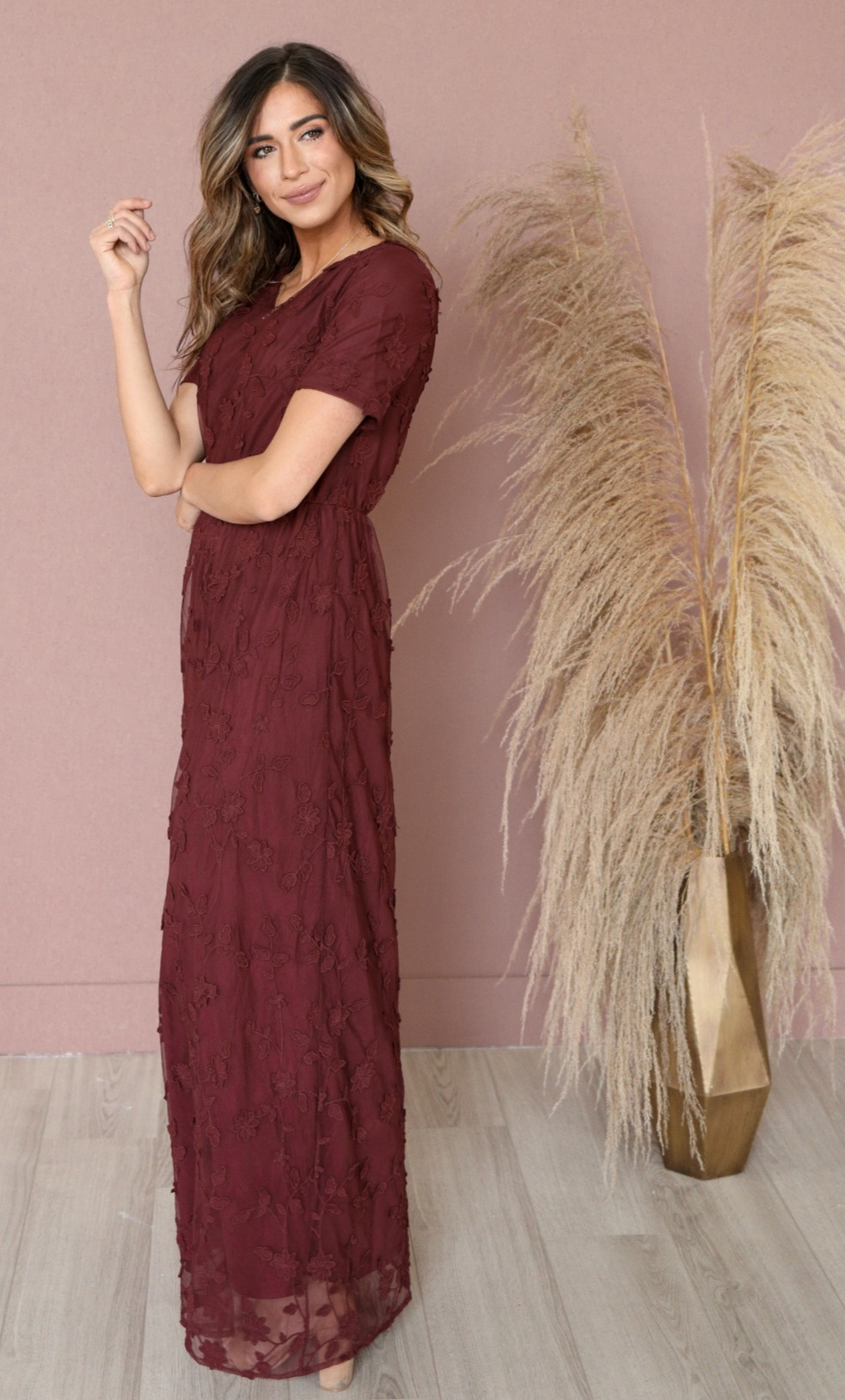 Kinsley Maxi Dress-Burgundy