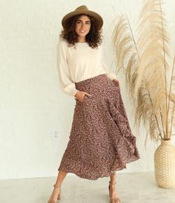 Front Ruffle Skirt-Mahogany Floral