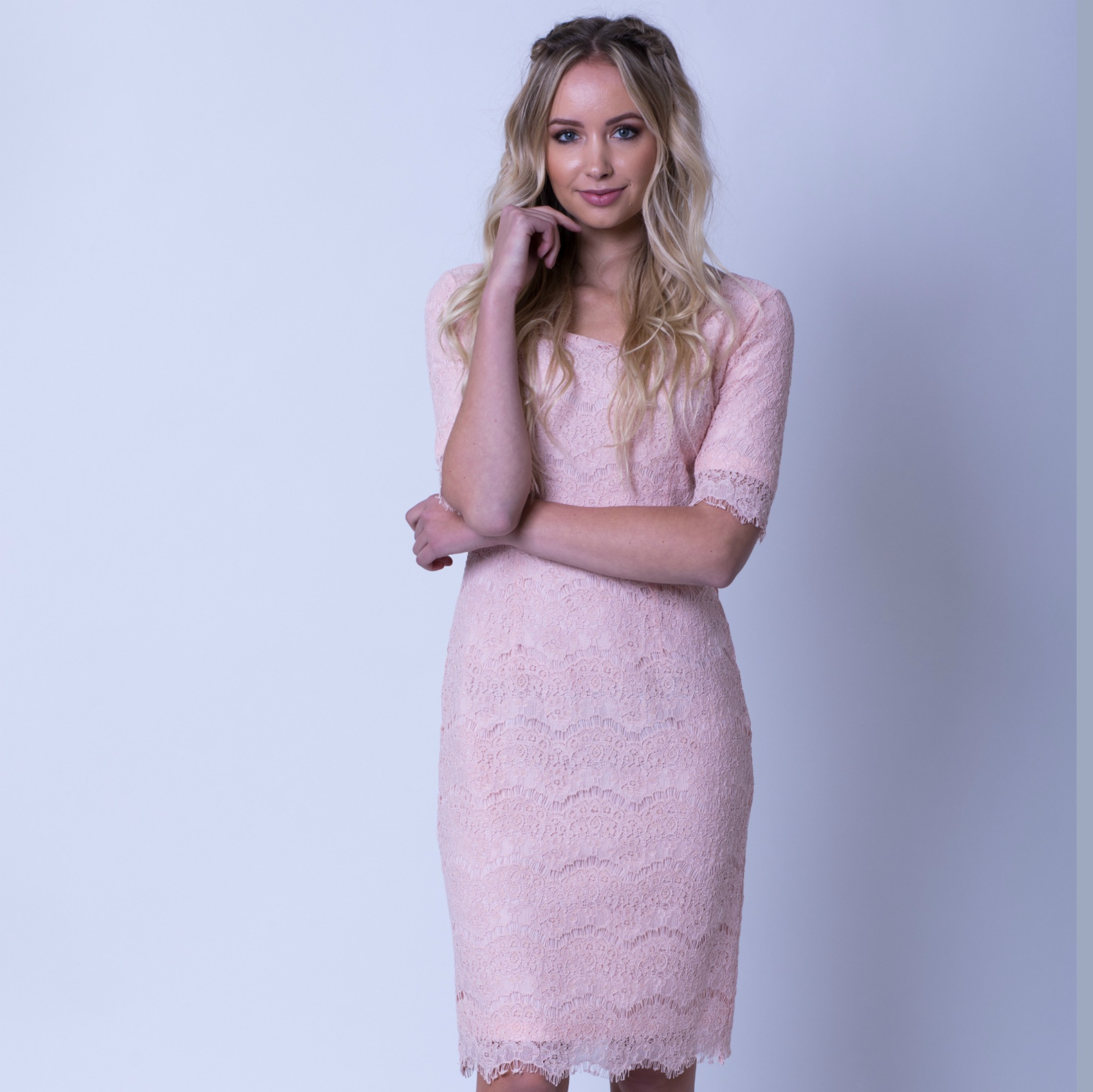 Jill Lace Dress-Pink