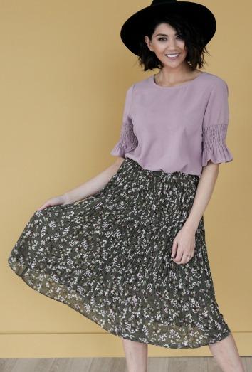 Gathered Sleeve Top-Lavender