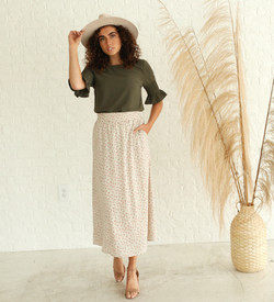 Gathered Sleeve Top-Chive