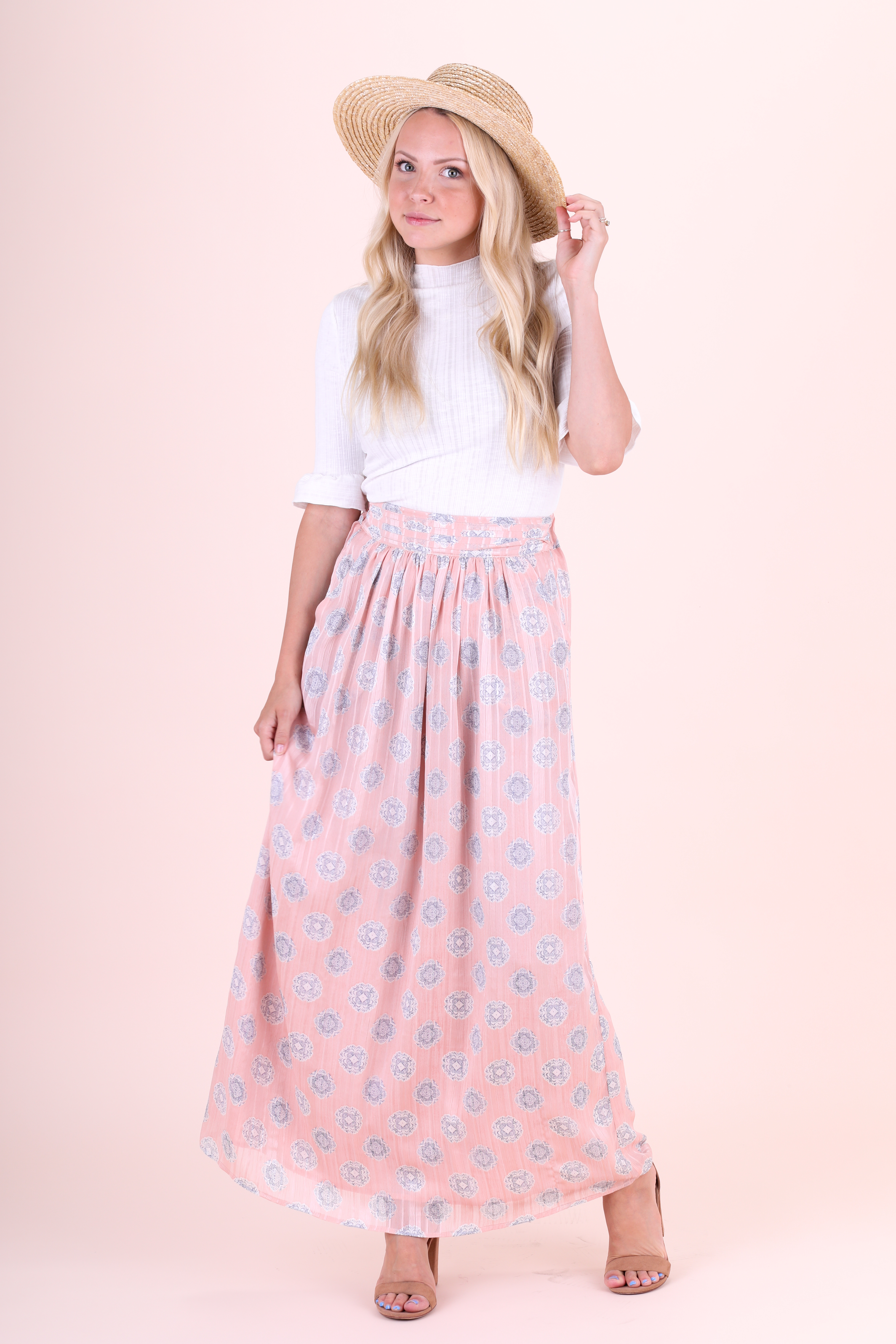 Mikarose Maxi Skirt-Pink Medallion