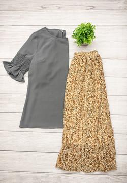 Pleated Crinkle Skirt