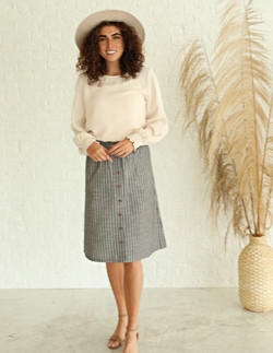 Striped Button Skirt-Textured Gray Strip