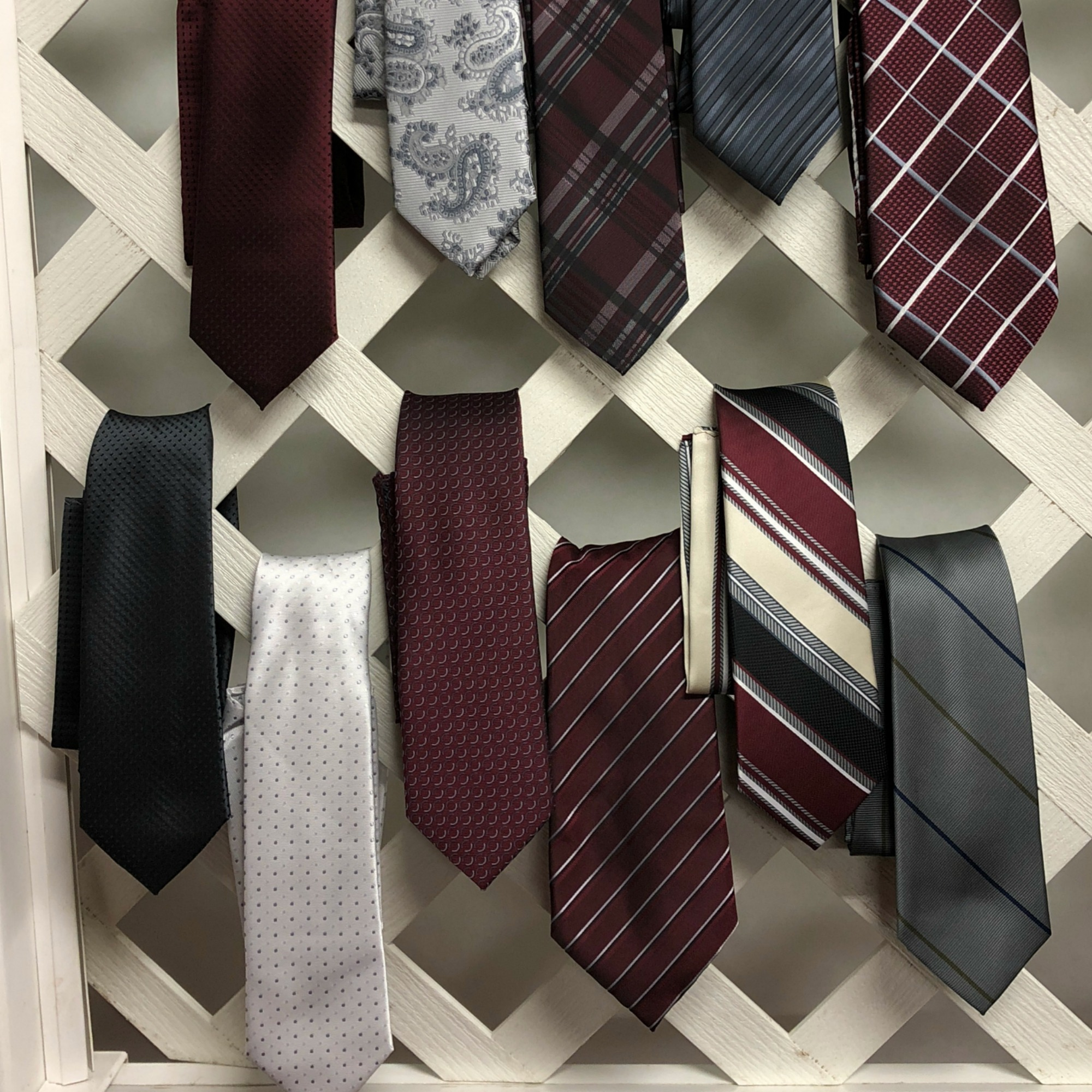 Ties in  Burgundy and Grays