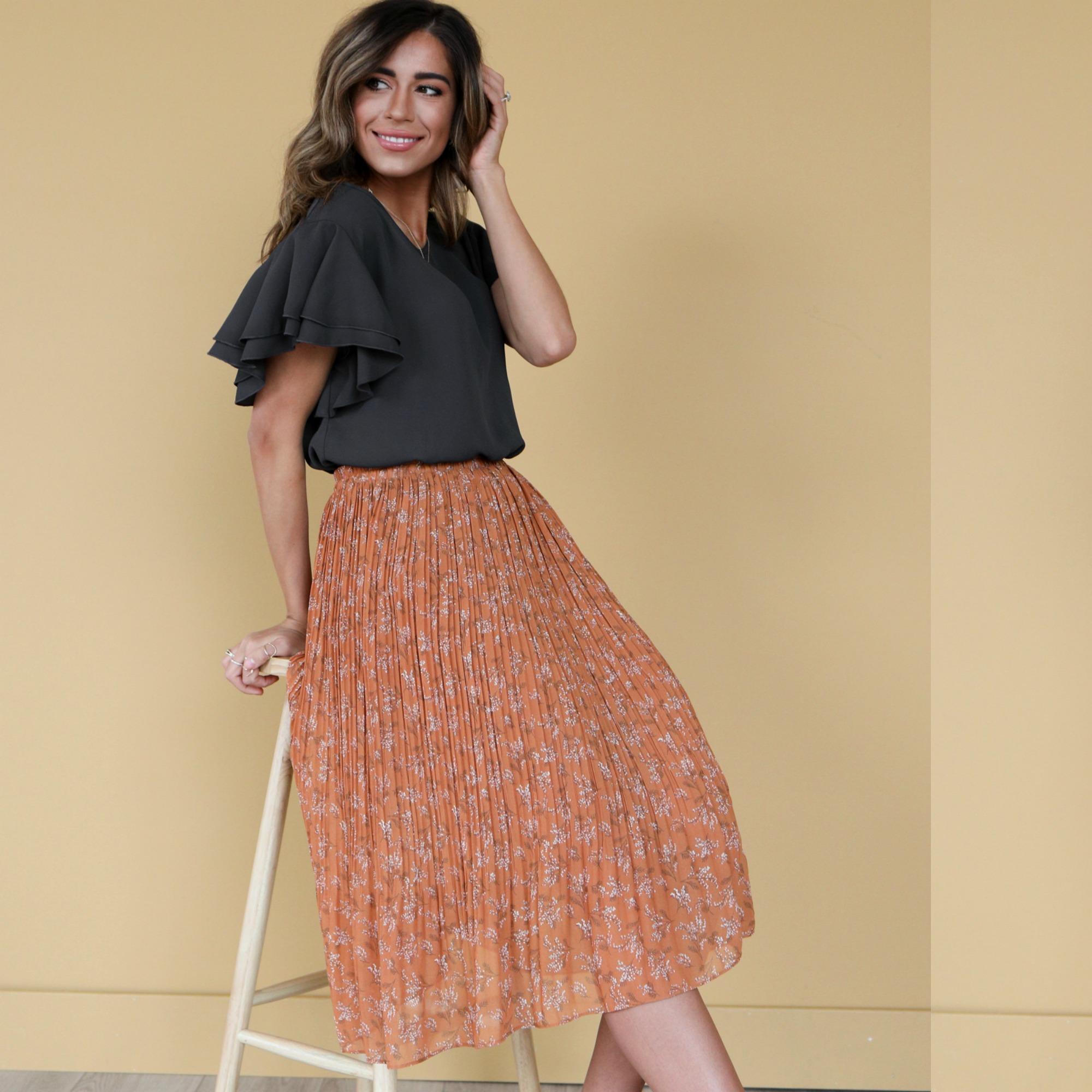 Pleated Midi Skirt-Cognac Field Floral