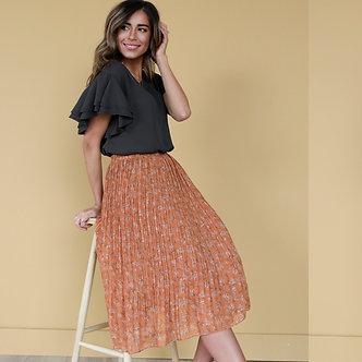 Pleated Midi Skirt-Cognac Fields Floral
