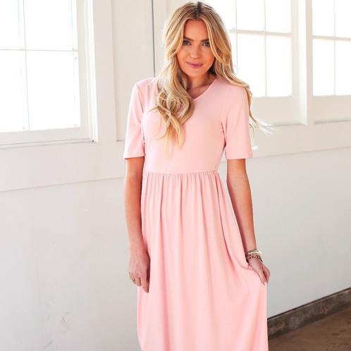 7b83e208799d Miranda Light Pink Maxi Dress. Pink Dress. Maxi Dress. Flirty and Fun Dress.  Missy sizes. Modest dress. Higher waist. Modest Pink Dress.