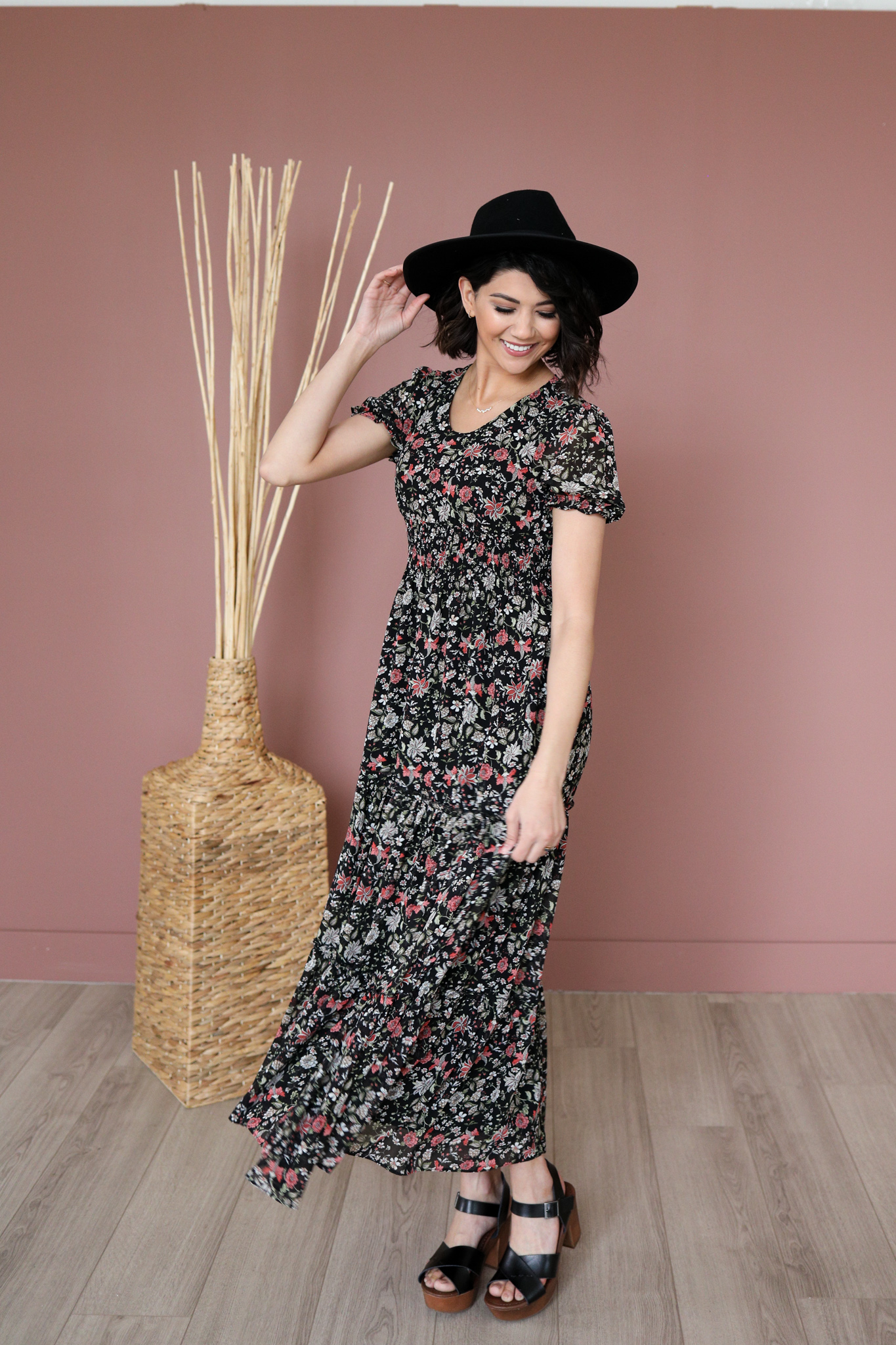 Eden Maxi Dress-Black Floral