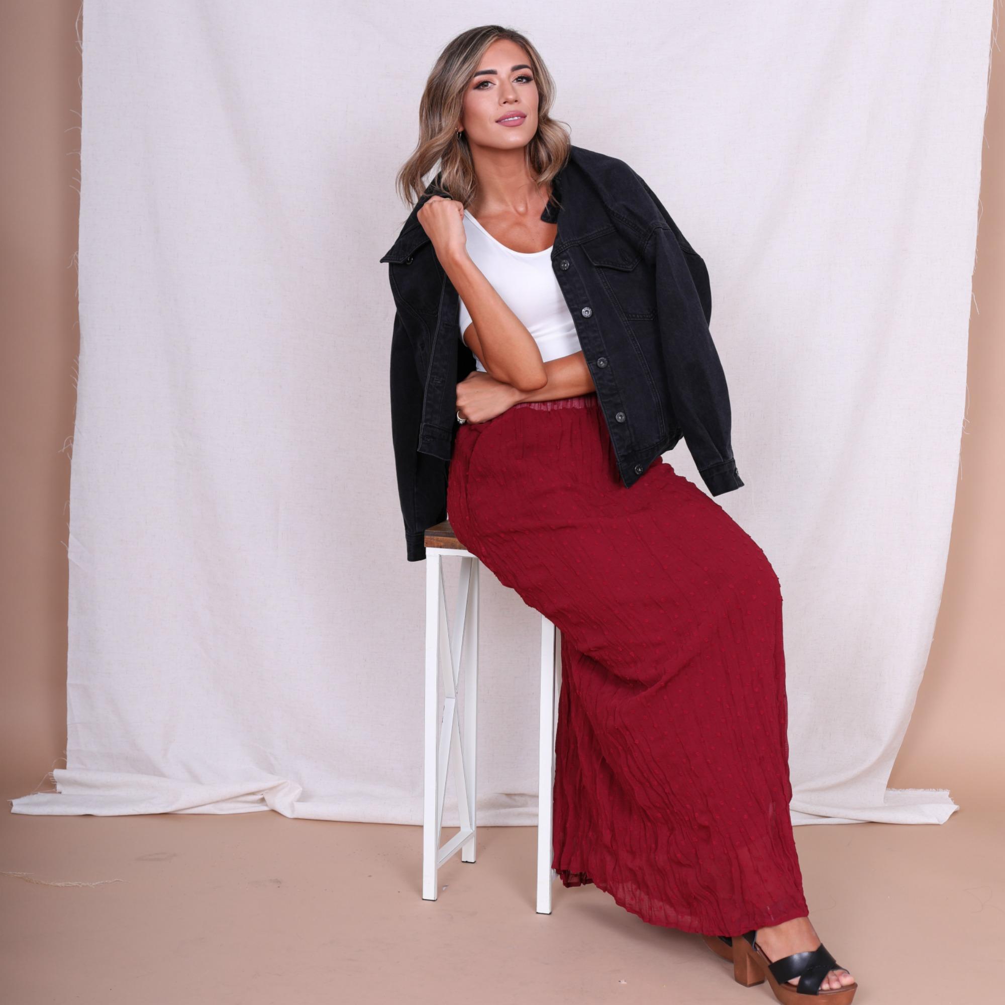 Swiss Dot Maxi Skirt-Sangria