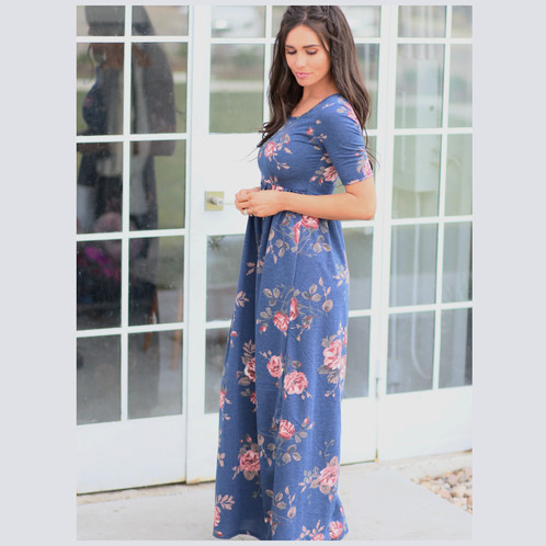 Mindi blue maxi dress modest maxi dress long dress floral dress mikarose maxi dress blue dress with pink flowers knit fabric dress summer dress mightylinksfo