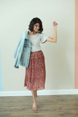 Pleated Skirt-Origami Rust Floral