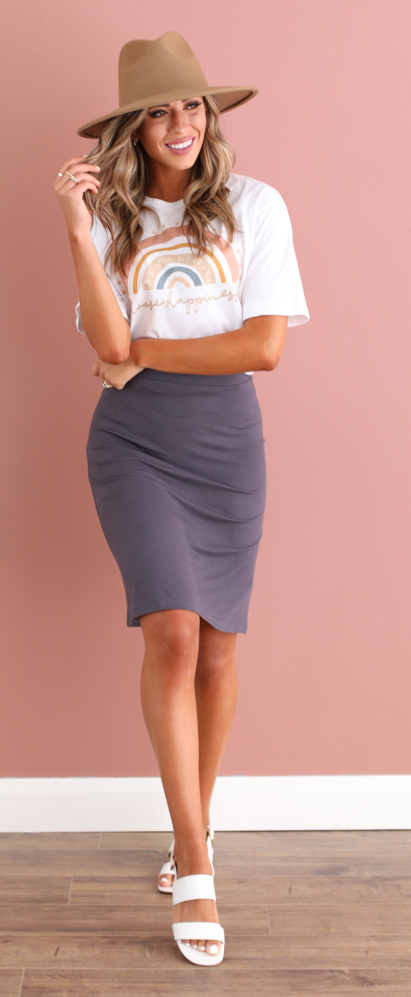Easy Pencil Skirt-Slate Gray