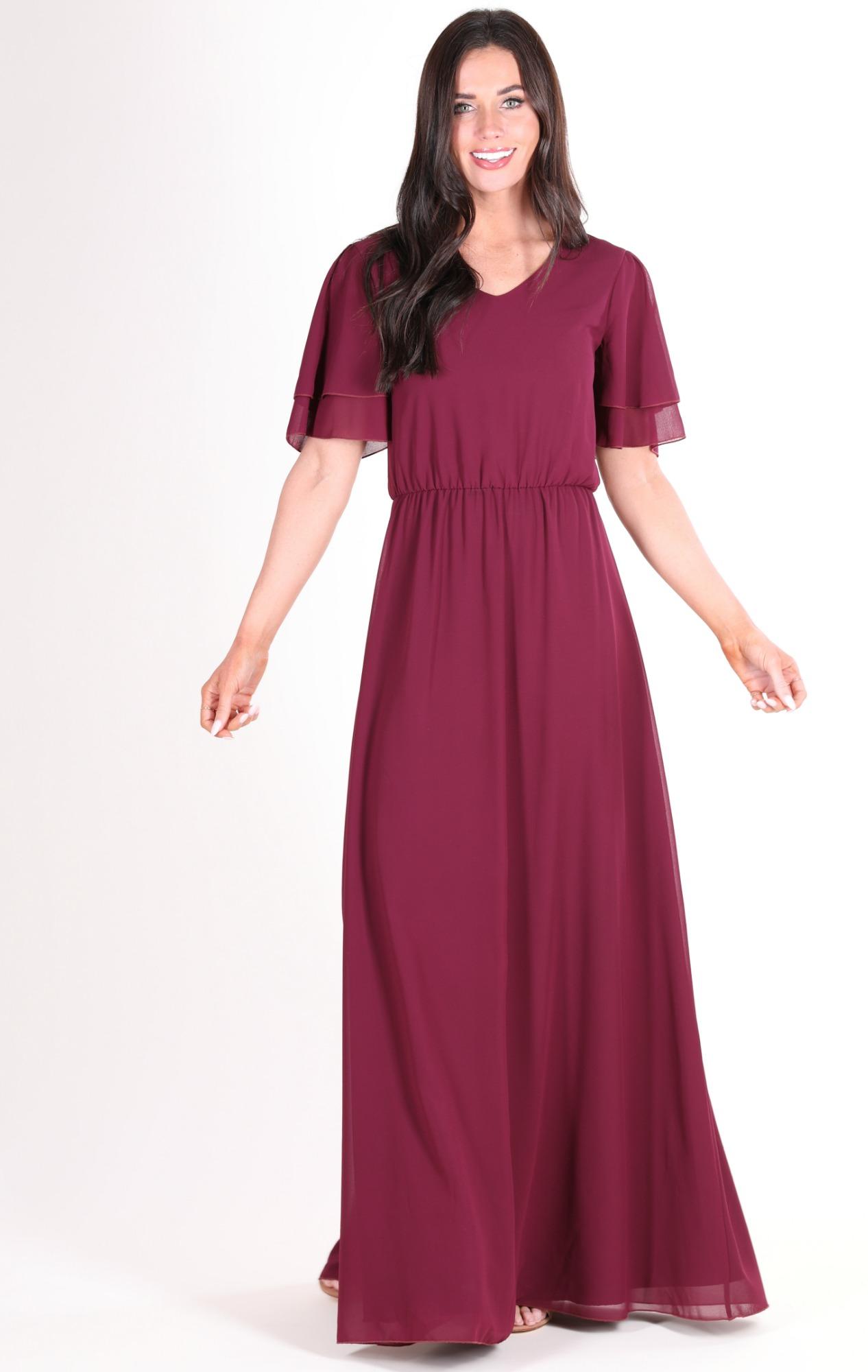 Chloe Chiffon Maxi Dress-Burgundy