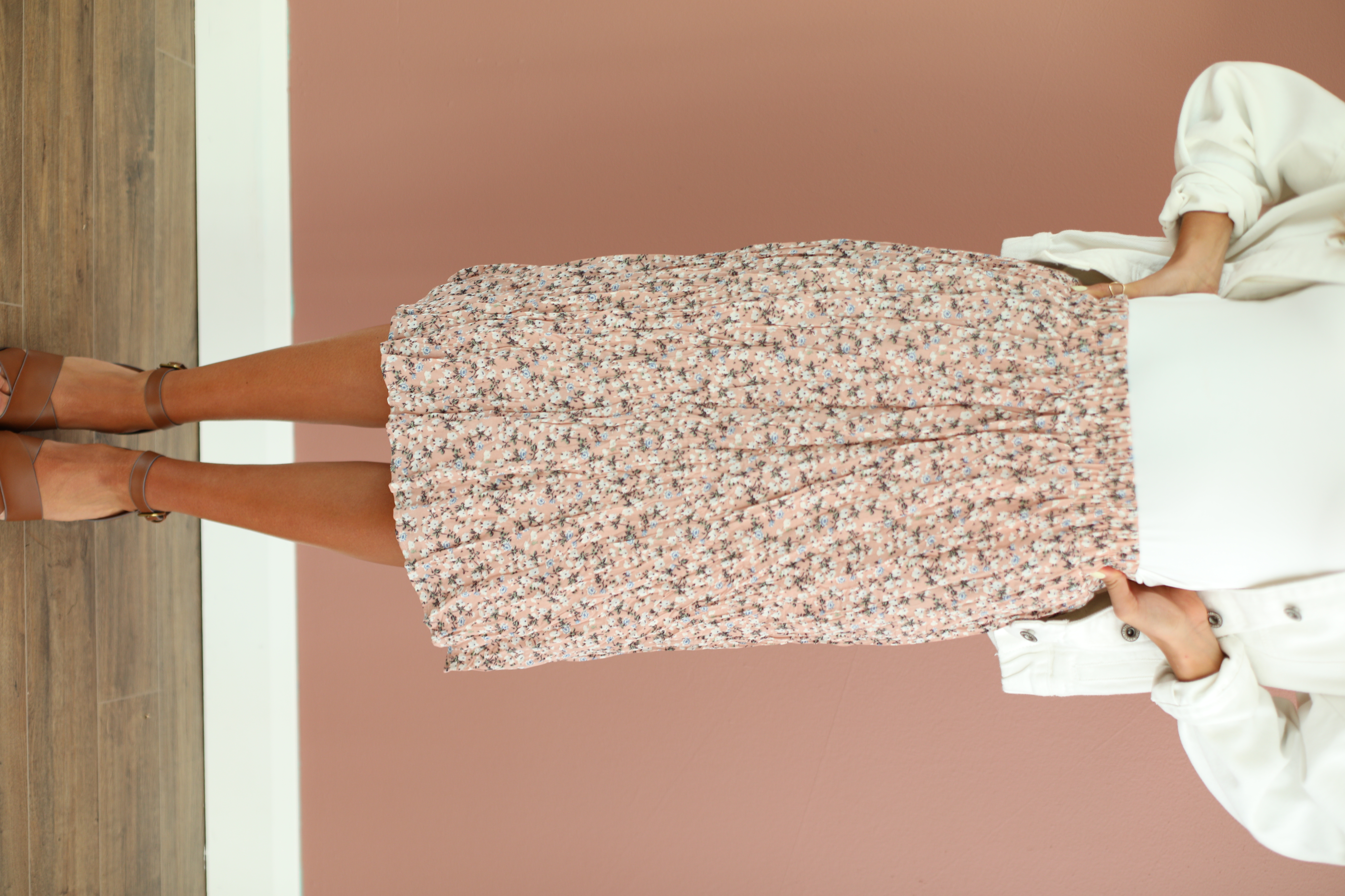 Pleated Skirt-Rosewater Floral
