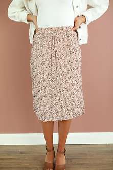 Pleated Midi Skirt-Rosewater Floral