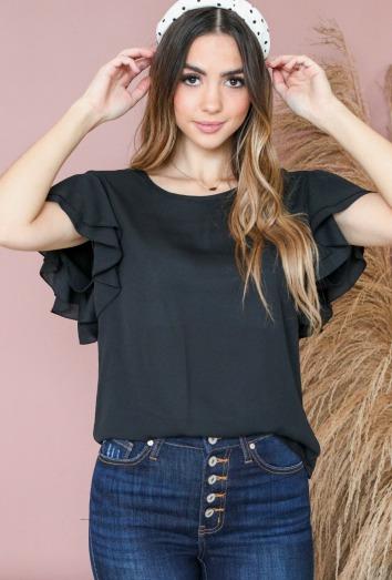 Ruffle Sleeve Top-Black