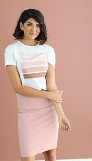 Pencil Skirt-Pale Rose