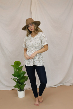 Smocked Top-Almond Ivory