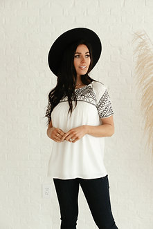 Embroidered Top in White with Black