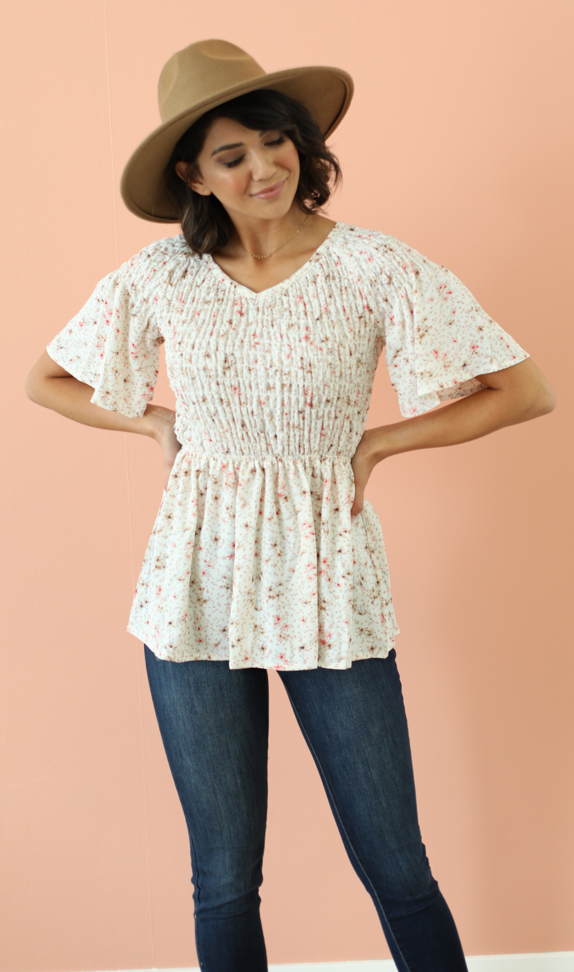 Smocked Top-Cream Floral