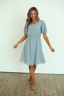 Claire Dress-Dusty Powder Blue
