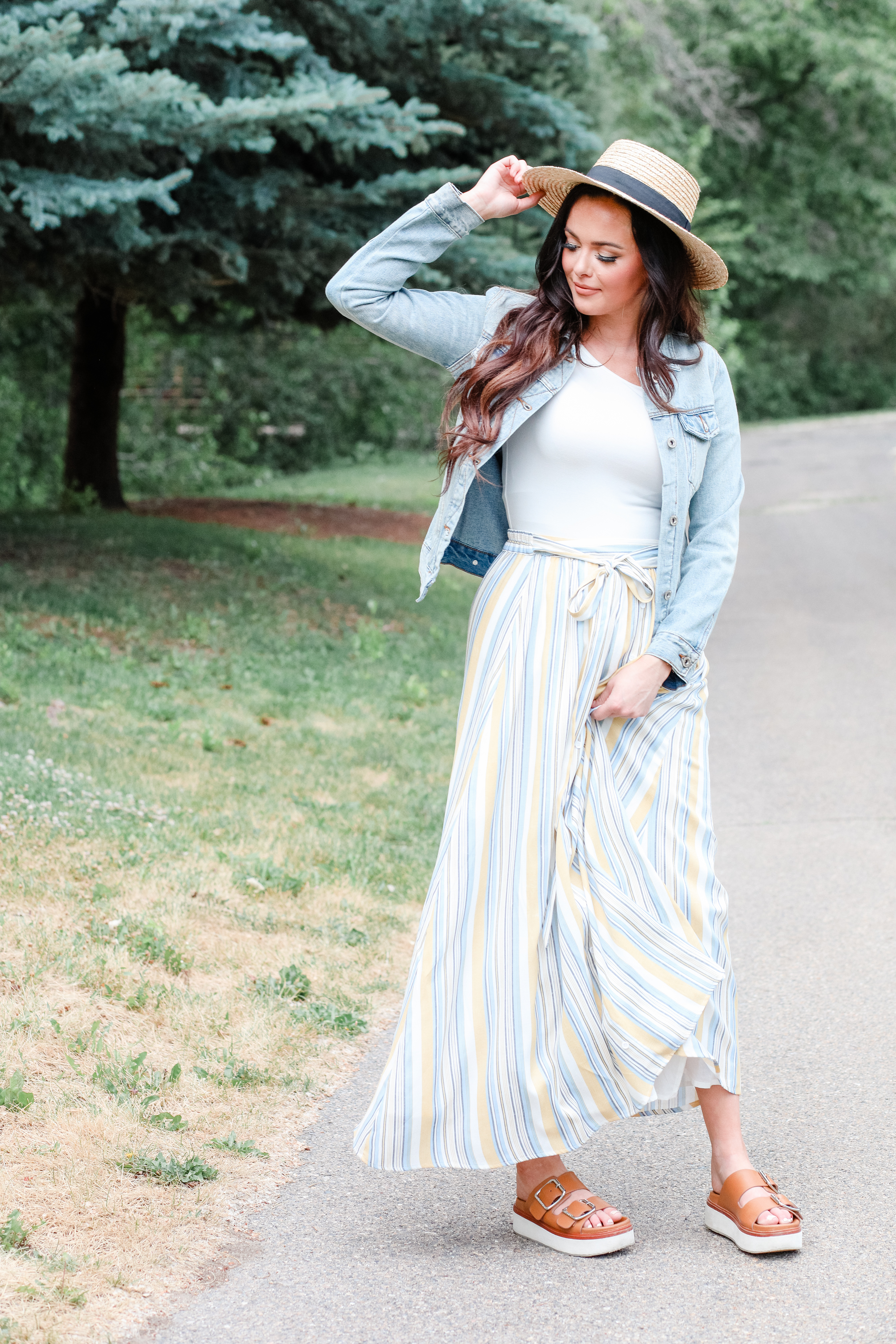 Mikarose Maxi Skirt-Striped