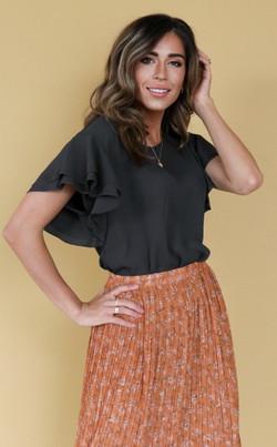Ruffle Sleeve Top-Charcoal