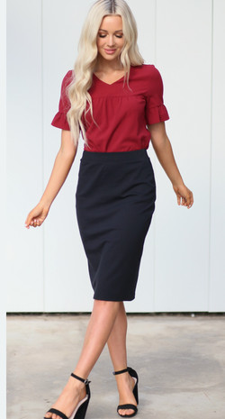 Black Pencil Skirt and Red Baby Doll Ruf