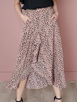 Leopard Ruffle Skirt-Tan
