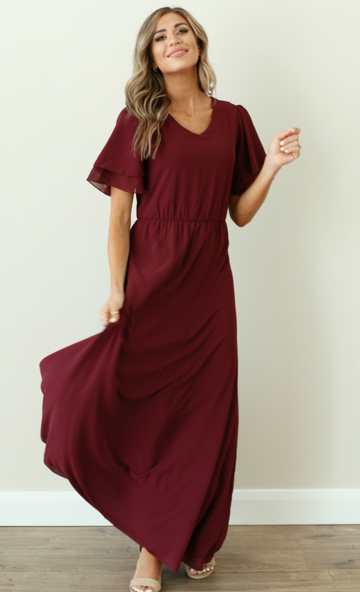 Chloe Dress-Plum-Burgundy