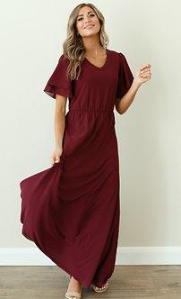 Chloe Maxi Dress-Plum Burgundy