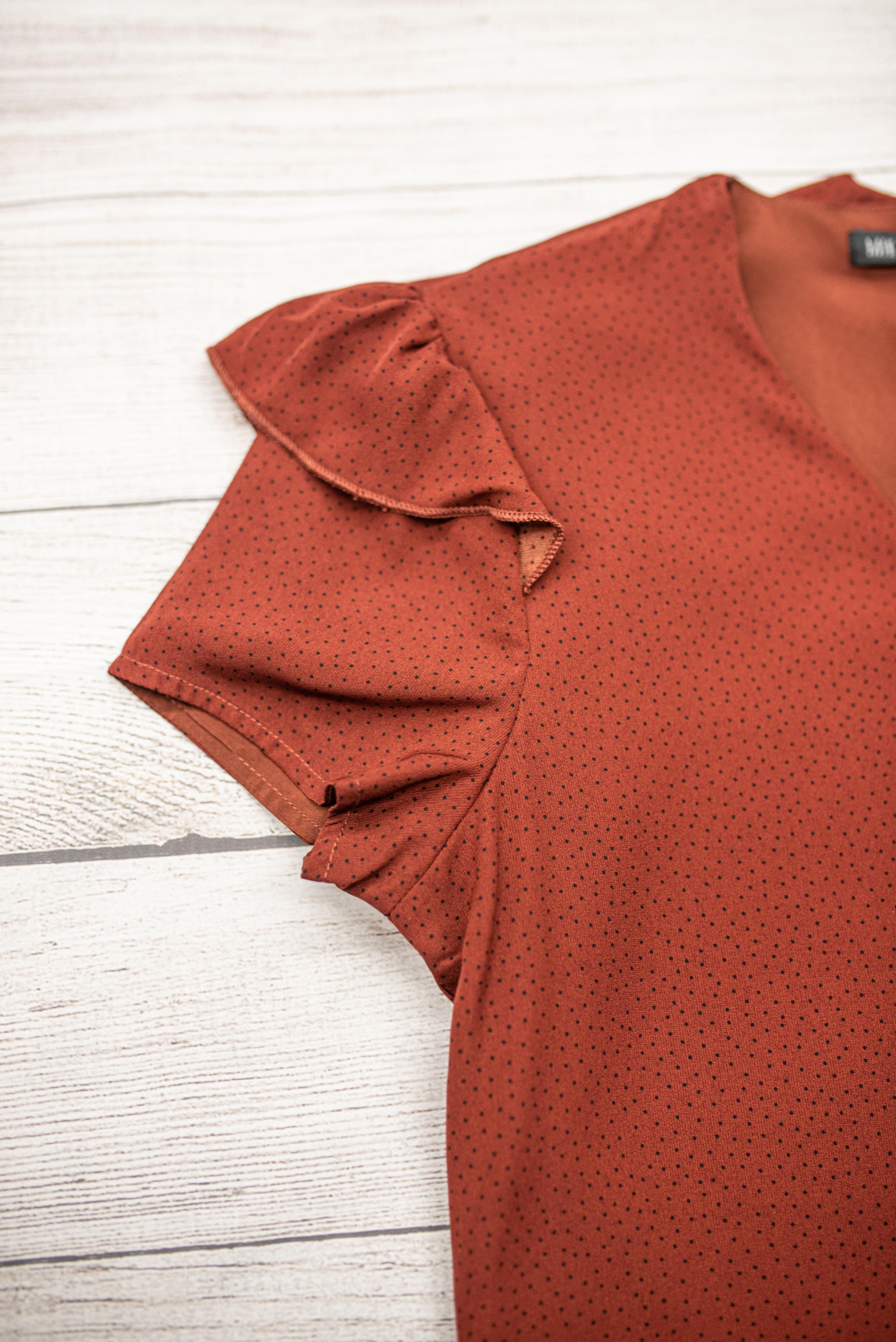 Flutter Sleeve Top-Rust Dot