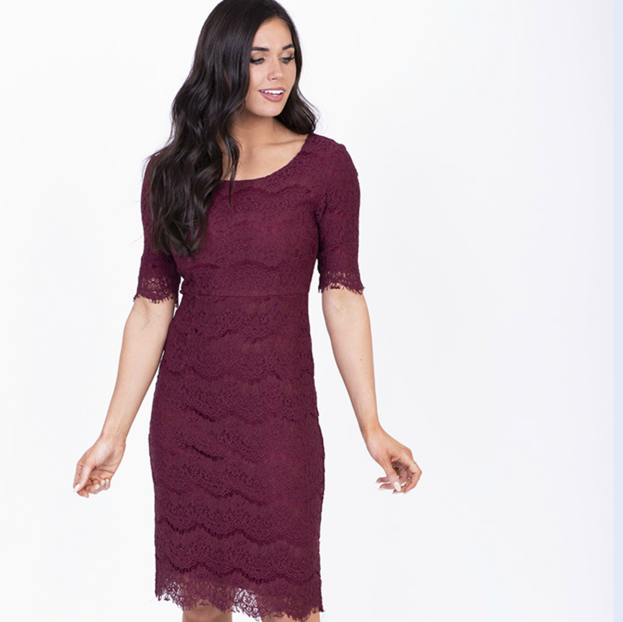 Jill Lace Dress-Burgundy