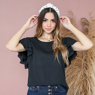Ruffled Sleeve Top-Black