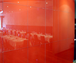 Painted Glass Wall Restaurant