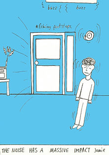 Line drawing with a blue background, showing a figure looking stressed due to the noise environment.