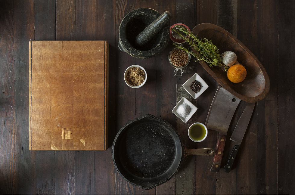 Canva - Chopping Board and Spices on a W