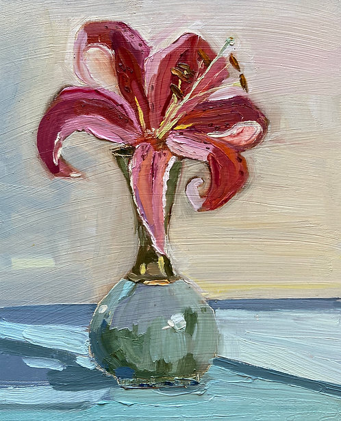 Dec 2nd- Single Lily in Turquoise Vase