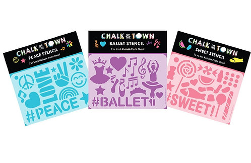 Stencil 3 Pack: Peace, Ballet & Candy