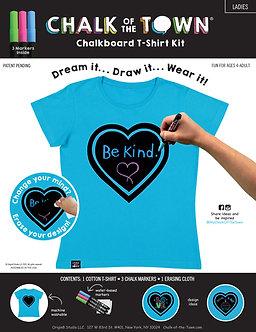 Ladies Aqua Heart Short Sleeve T-Shirt  Kit w/3 Markers