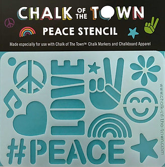 #Peace Stencil Chalkboard T-Shirt Front View