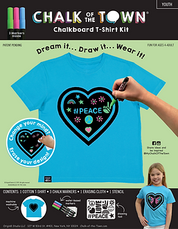 Aqua Heart Short Sleeve T-Shirt  Kit w/3 Markers