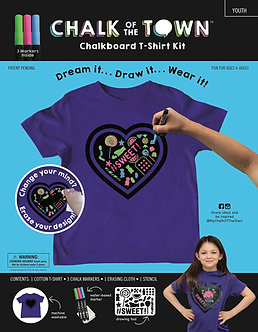 Purple Heart Chalkboard T-Shirt With Candy Stencil