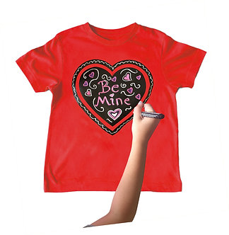Red Heart Chalkboard T-Shirt Front View With Drawing