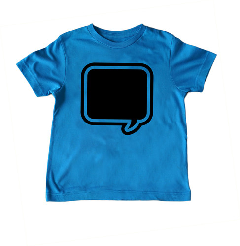 3ede7d6f9 ... Brilliant Blue Speech Chalk of the Town Chalkboard T-Shirt Front View