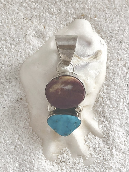 Spiny Oyster Shell & Turquoise Pendant